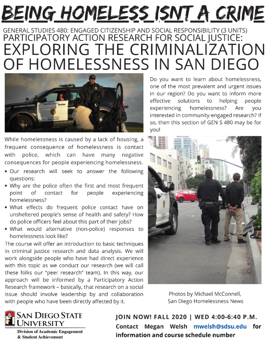 GENS 480: Exploring the Criminalization of Homelessness in San Diego