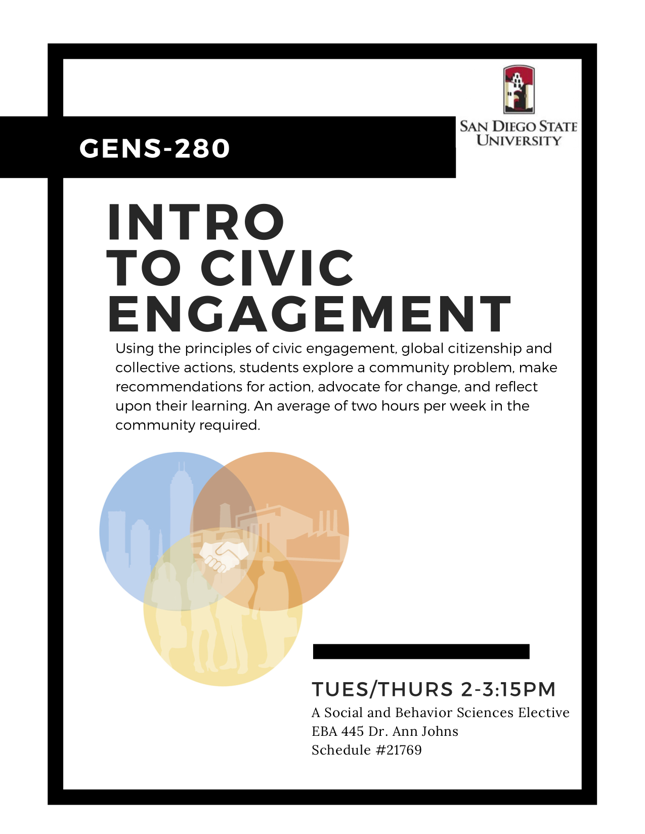 GENS 280 Intro to Civic Engagement flyer