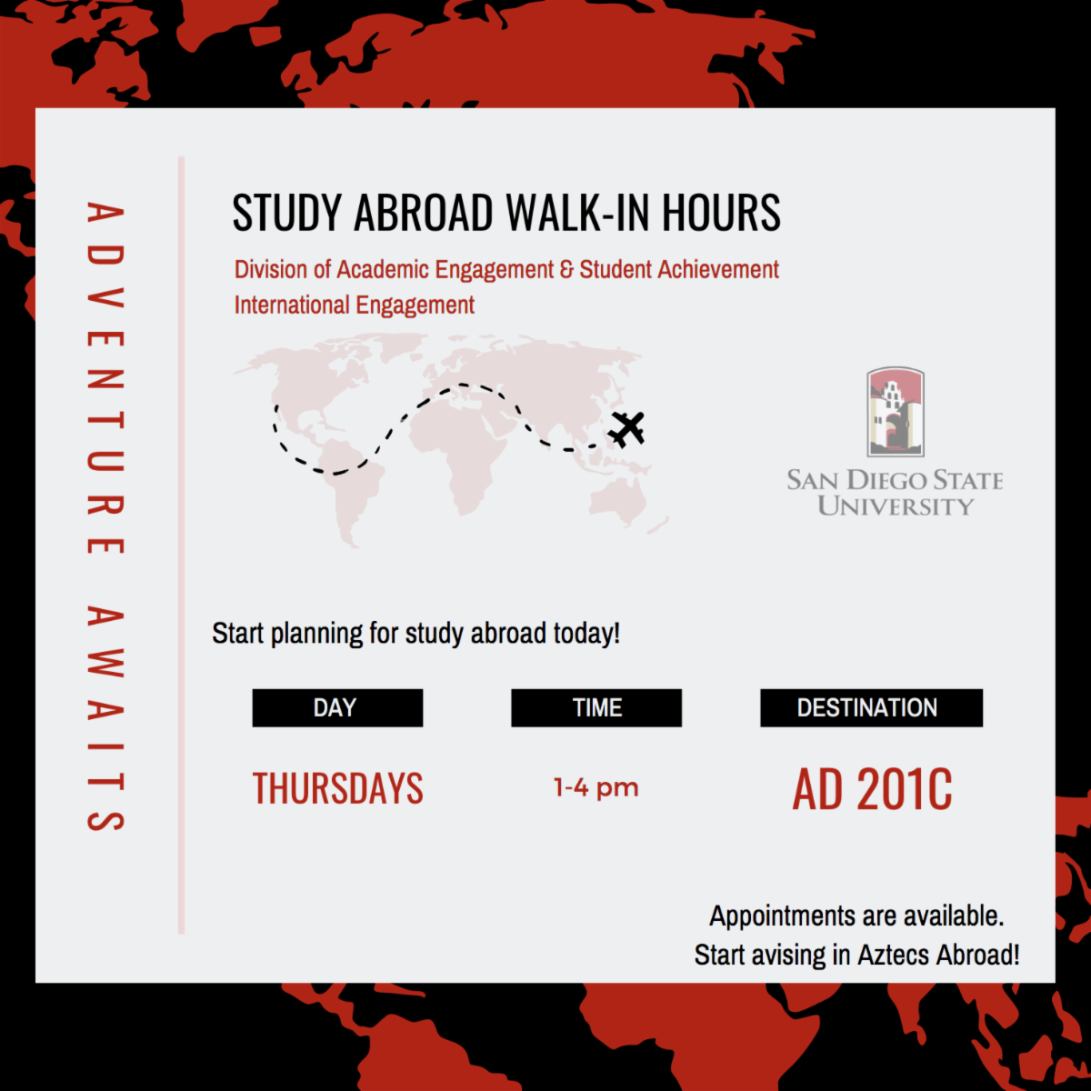 flyer for study abroad walk-ins and appointments